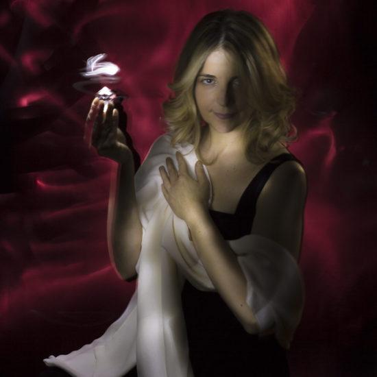 ritratto fotografico in light painting persefone di donne e di dee