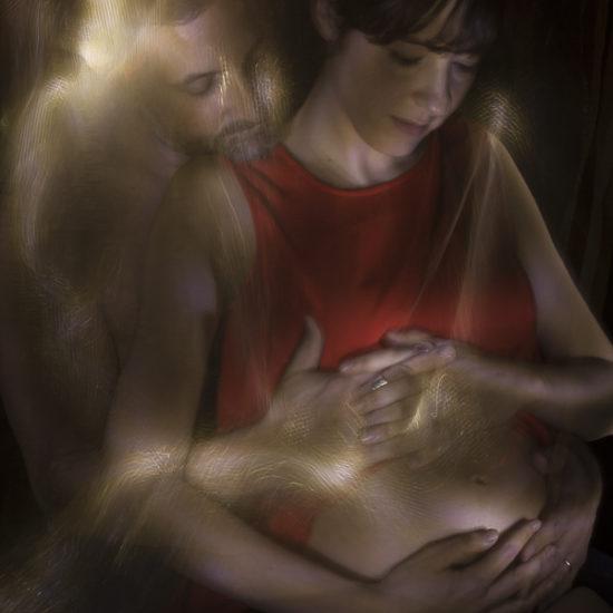 ritratto fotografico in light painting maternità e paternità