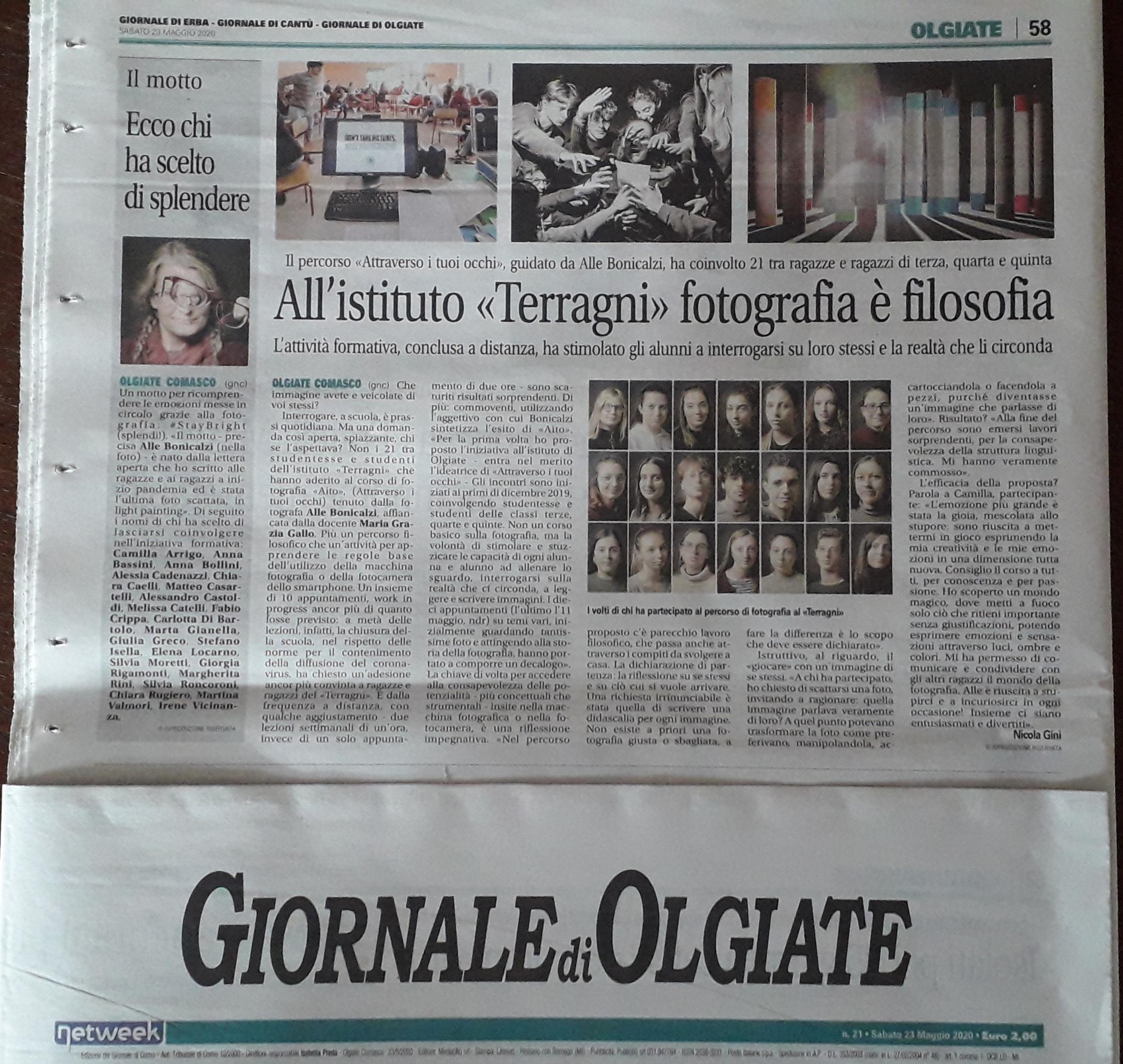 tornare a scuola, liceo Terragni, percorso fotografico, Il Giornale di Olgiate, Nicola Gini,