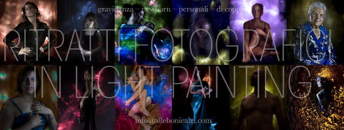 ritratti fotografici in light painting, gravidanza, newborn, individuali, di coppia,